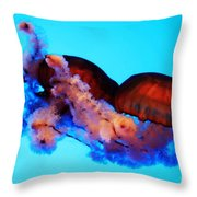 Jellyfish Drama - Digital Art Throw Pillow
