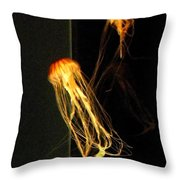 Jellyfish In Dark Throw Pillow
