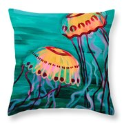 Jellyfish In Green Water Throw Pillow