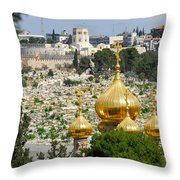 Jerusalem Church Of St Mary Magdalene  Throw Pillow