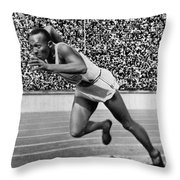 Jesse Owens (1913-1980) Throw Pillow