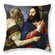 Jesus & Tribute Money Throw Pillow