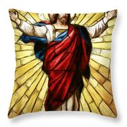 Jesus Christ Stained Glass Throw Pillow