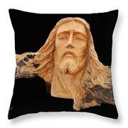 Jesus Christ Wooden Sculpture -  Four Throw Pillow