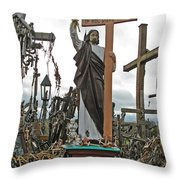 Jesus On The Hill Of Crosses. Lithuania Throw Pillow