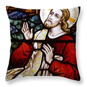 Jesus Stained Glass Throw Pillow