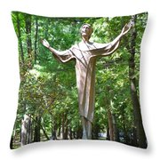 Jesus Statue Throw Pillow