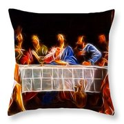 Jesus The Last Supper Throw Pillow by Pamela Johnson