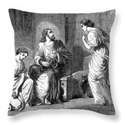 Jesus With Mary & Martha Throw Pillow