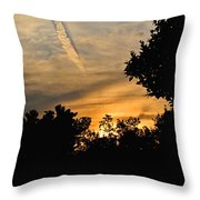 Jet Trail Sunset Throw Pillow