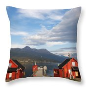 Jetty In A Norwegian Fjord Throw Pillow