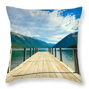 Jetty Of A Beautiful Lake  Throw Pillow