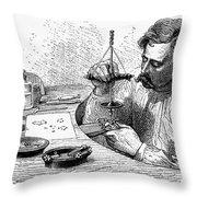 Jeweler, 19th Century Throw Pillow