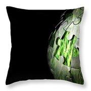 Jigsaw Globe With Grass Inside Throw Pillow