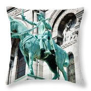 Joan Of Arc At Sacre Coeur Basilica Paris France Throw Pillow
