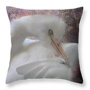 Joelle's Egret Throw Pillow