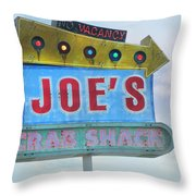Joe's Crab Shack Retro Sign Throw Pillow