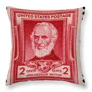 John Greenleaf Whittier Postage Stamp Throw Pillow