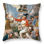 John Paul Jones Shooting A Sailor Who Had Attempted To Strike His Colours In An Engagement Throw Pillow