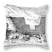 Johnstown Flood: Dam, 1889 Throw Pillow