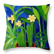 Jonquils And Bamboo Plant Throw Pillow