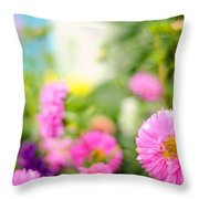 Joy Of Summer Time Throw Pillow by Jenny Rainbow