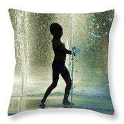 Joyful Child In The Water Fountain Throw Pillow