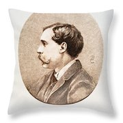 Jules A.h. De Goncourt (1830-1870). French Novelist: Engraving After A Contemporary Portrait On Enamel Throw Pillow