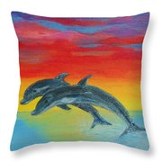 Jumping Dolphins Left Throw Pillow