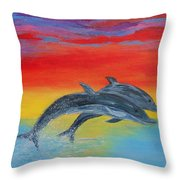 Jumping Dolphins Right Throw Pillow