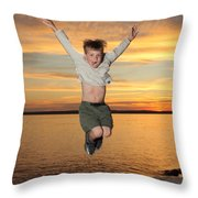 Jumping For Joy Throw Pillow by Ted Kinsman