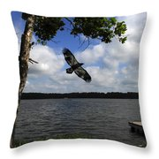Junenile Eagle Rocky Fork Lake Throw Pillow