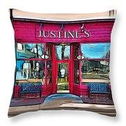 Justine's Ice Cream Parlour Throw Pillow