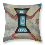 K Is For Kachina Detail From Childhood Quilt Painting Throw Pillow