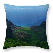 Kalalau Valley 3 Throw Pillow by Ken Smith