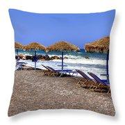 Kamari - Santorini Throw Pillow