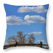 Kansas Country Wooden Fence With Blue Sky And Cloud's Throw Pillow