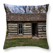 Kansas Log Cabin Throw Pillow