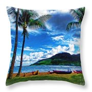 Kauai Beach And Palms Throw Pillow