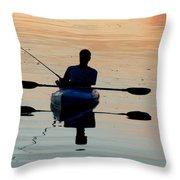 Kayak Fisherman Throw Pillow