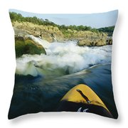 Kayak Noses Its Way Toward A Waterfall Throw Pillow