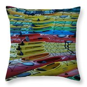 Kayak Row Throw Pillow