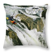Kayaker At The Top Of A Waterfall Throw Pillow