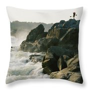 Kayaker Carries Boat Up The Rocks Throw Pillow
