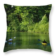 Kayakers Paddle In The Headwaters Throw Pillow