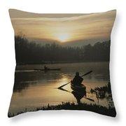 Kayakers Paddle Through Still Water Throw Pillow