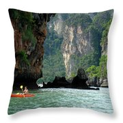 Kayaking In Thailand Throw Pillow