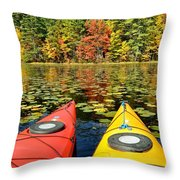 Kayaks In The Fall Throw Pillow