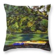 Kayaks On The Little Sandy Throw Pillow