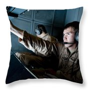 Kc-10 Extender Boom Operator Adjusts Throw Pillow